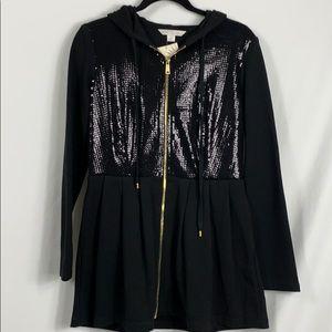 NWT Boston Proper black hooded sequined sweatshirt
